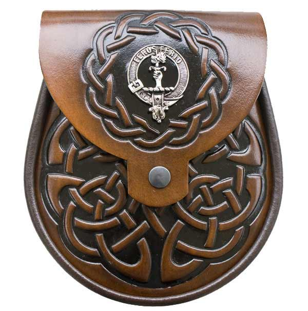 Clan Crest Brown Leather Sporran