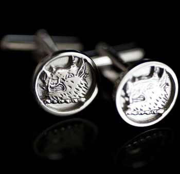 Silver Clan Crest Cufflinks Small