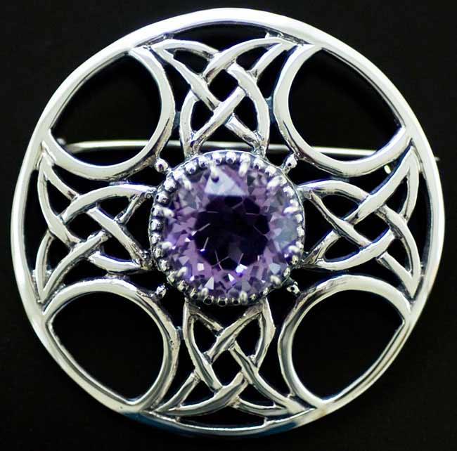 Celtic Cross Amethyst Shield Brooch