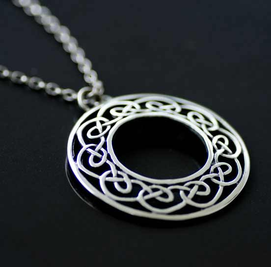Celtic Interlace Silver Circlet Pendant