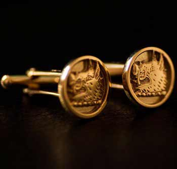 Gold Clan Crest Cufflinks Small