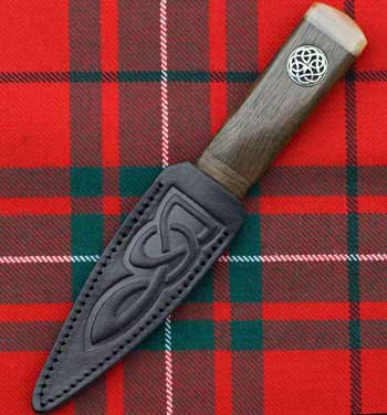 Ancient Bog Oak Celtic Silver Sgian Dubh