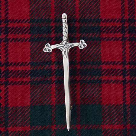 Broadsword Silver Kiltpin on Ross Tartan