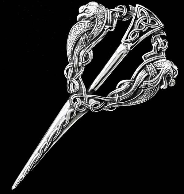 Celtic Serpent Silver Kilt Pin