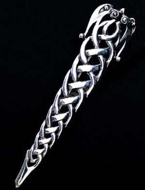 Silver Celtic Zoomorphic Interlace Kilt Pin