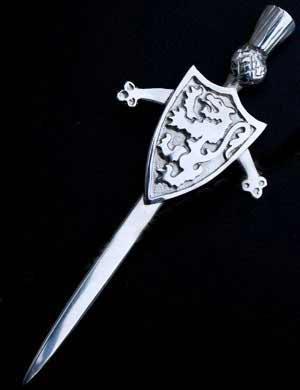 Lion Rampant Sword and Shield Kilt Pin