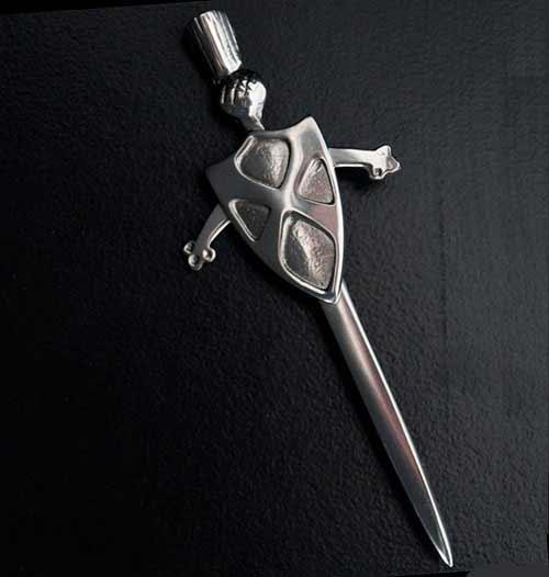 Saltire Sword and Shield Kilt Pin