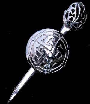 Jacobite Sword and Targe Kilt Pin