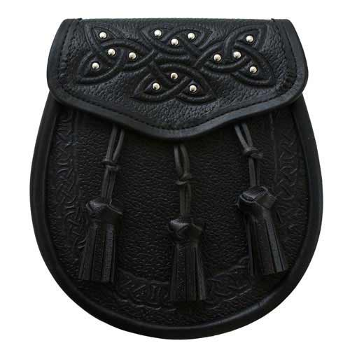 Black Leather Celtic Studded Day Sporran