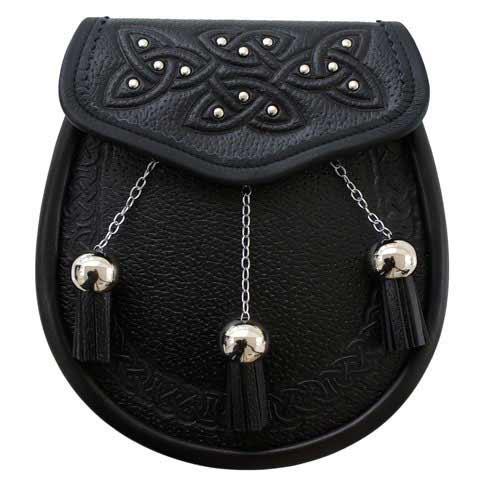 Black Leather Celtic Studded Semi-Dress Sporran