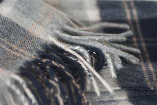 Close-up Navy and Grey Cashmere Tartan Scarf
