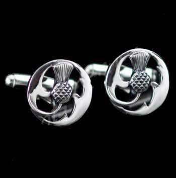Scottish Thistle Silver Cufflinks