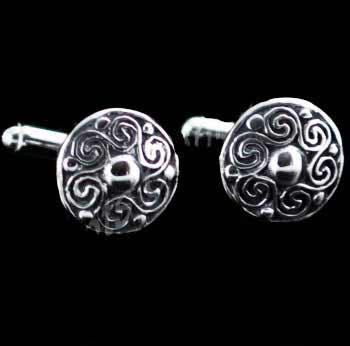 Celtic Spiral Silver Cufflinks