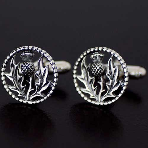 Scottish-made Silver Thistle Cufflinks