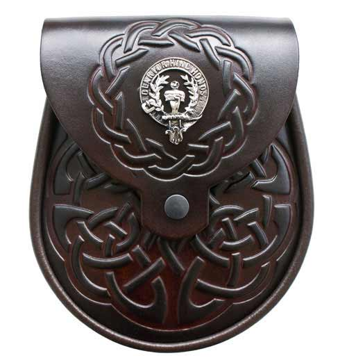 Clan Crest Dark Brown Leather Sporran
