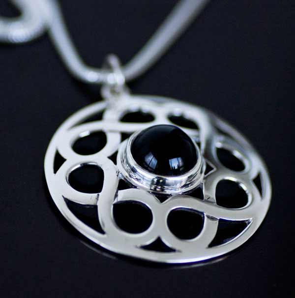 Celtic Silver Black Onyx Gemstone Pendant