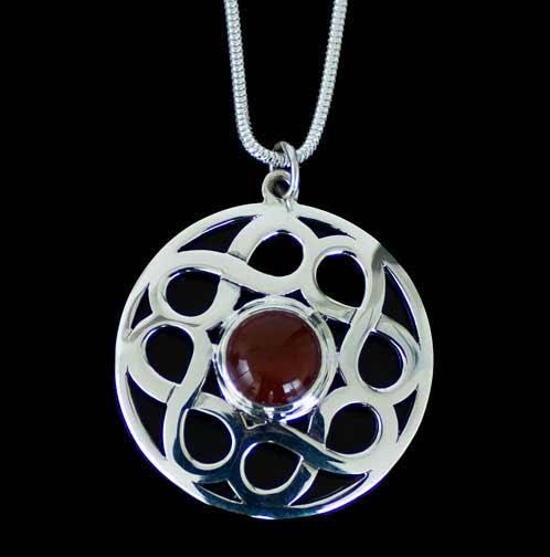 Celtic Silver Carnelian Gemstone Pendant