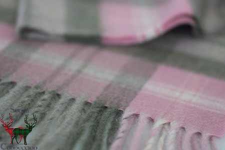 Pink Tartan Cashmere Scarf