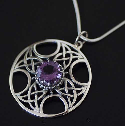 Amethyst Celtic Silver Pendant