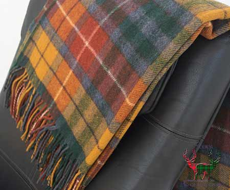 Antique Buchanan Tartan Throw over Armchair