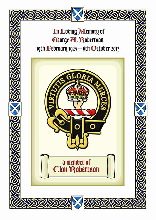 Clan Crest Memorial Certificate
